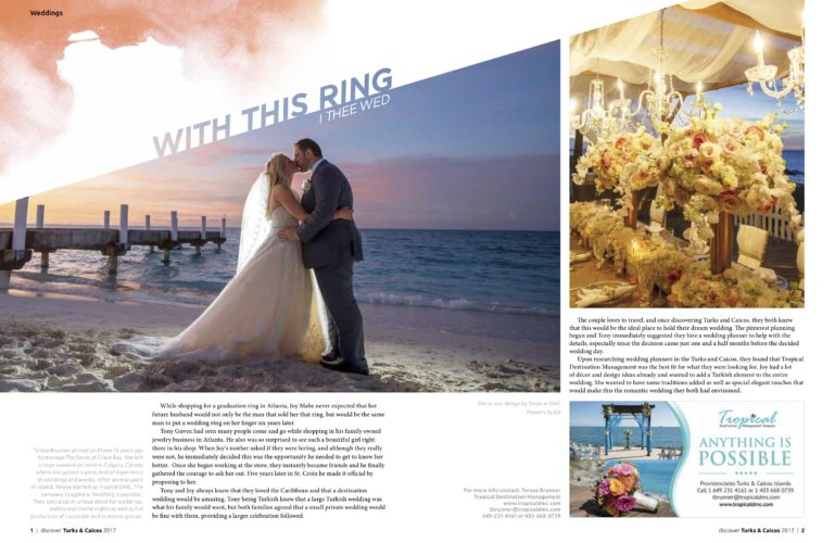 Grace Bay Wedding Featured in Discover Magazine 2017